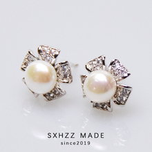 SXHZZ 2019 Crystal Pearl Wedding Jewelry Luxury Clear Zircon Earrings Elegant 925 Sterling Silver Flower Stud For Women