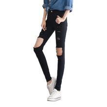 7af01375ae08 2018 Hot Sale New Fashion Women Casual Black High Waist Torn Jeans Hole  Knee Skinny Pencil