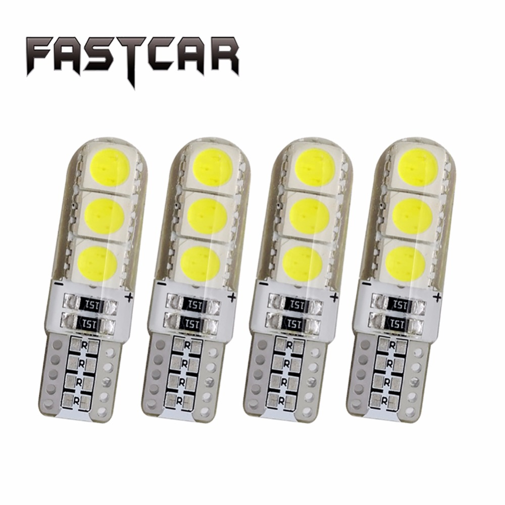 4X T10 Led Light Silicone Waterproof 6 SMD 5050 W5W Wedge Side Reading Light Lamp Bulb Car Light Source White Blue Red Green 12V