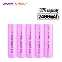 FELYBY HOT Original Brand 5pcs 18650 li ion rechargeable battery 3.7V 100% 2400mAh 18650 battery 18650 Rechargeable Battery
