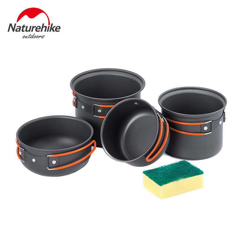 Naturehike Outdoor Tablewares 2-3 Person Sets Portable Lightweight Camping Picnic Cookware Aluminium Alloy Bowl Pots Pans 4 In 1