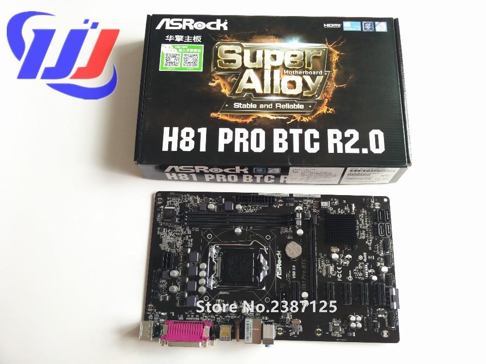 1 año 100% nuevo en caja ASRock H81 pro BTC ETH LGA 1150 i7 i5 i3 para Xeon Pentium celeron DDR3 placa base