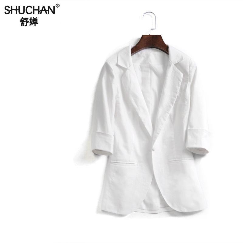SHUCHAN Fashion Basic Jacket Blazer Linen Women Suit Cardigan Three Quarter Sleeve Ladies Coats Casual Blazer Female 2018 Z-608