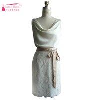 Ivory Knee Length Lace Homecoming Dresses Straight Backless Cocktail Dresses Short Vestidos De Noiva Z1251