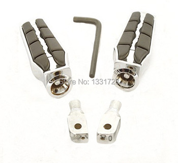 Chrome Wing Foot Pegs Rests For  1999-2006 Yamaha Road Star Warrior (Rear)