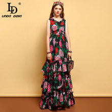 LD リンダデラ夏プラスサイズマキシドレス女性の弾性ウエストティアード層裾ローズ花柄ヴィンテージエレガントなロングドレス