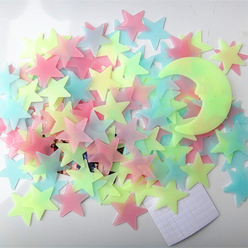 100Pcs DIY Colorful Wall Stickers Luminous Star Fluorescent Glow In The Dark Baby Kids Bedroom Decal Home Decor