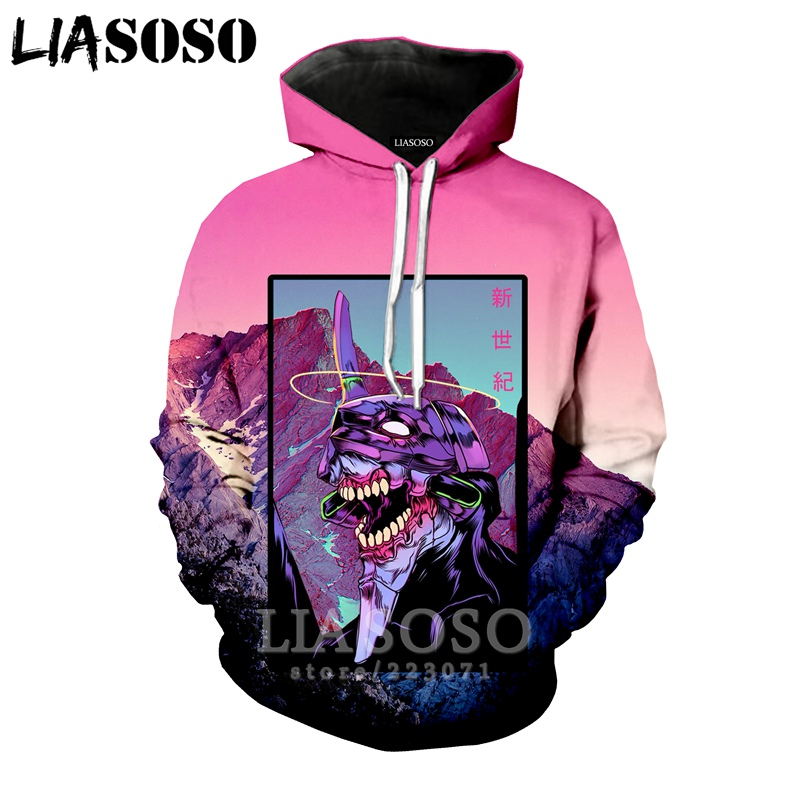 LIASOSO Autumn New Fashion Men Women Sweatshirt 3D Print Anime NEON GENESIS EVANGELION Hoodie Long Sleeve Top Pullover A250-06