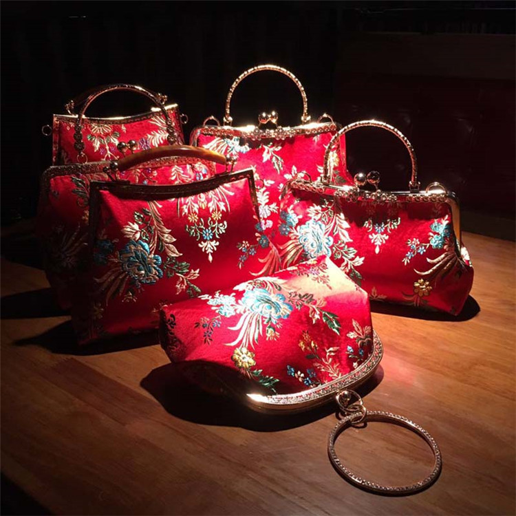Handmade DIY Bag Crafts Material for Clutch Purse Frame Banquet Wedding Chinese red Party Bags