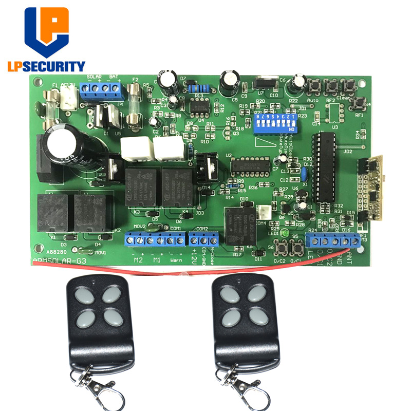 LPSECURITY 12V DC Swing Control board with 2pcs remote control for DC Linear Dual swing Arm