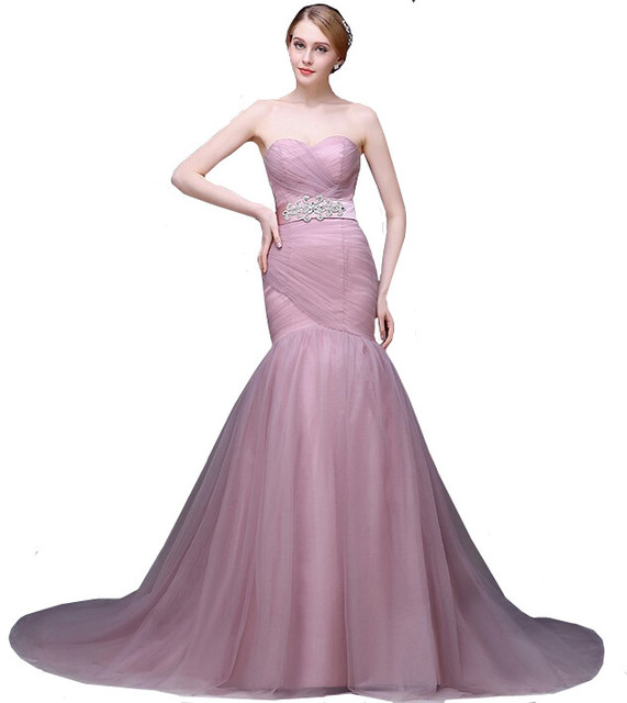 Mermaid Wedding Dress In Pale Mauve Strapless Lace Up Tulle Gown