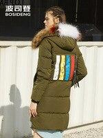 BOSIDENG winter jacket women down coat natural fur collar thicken warm outwear casual wear long parka hat detachable B70142184