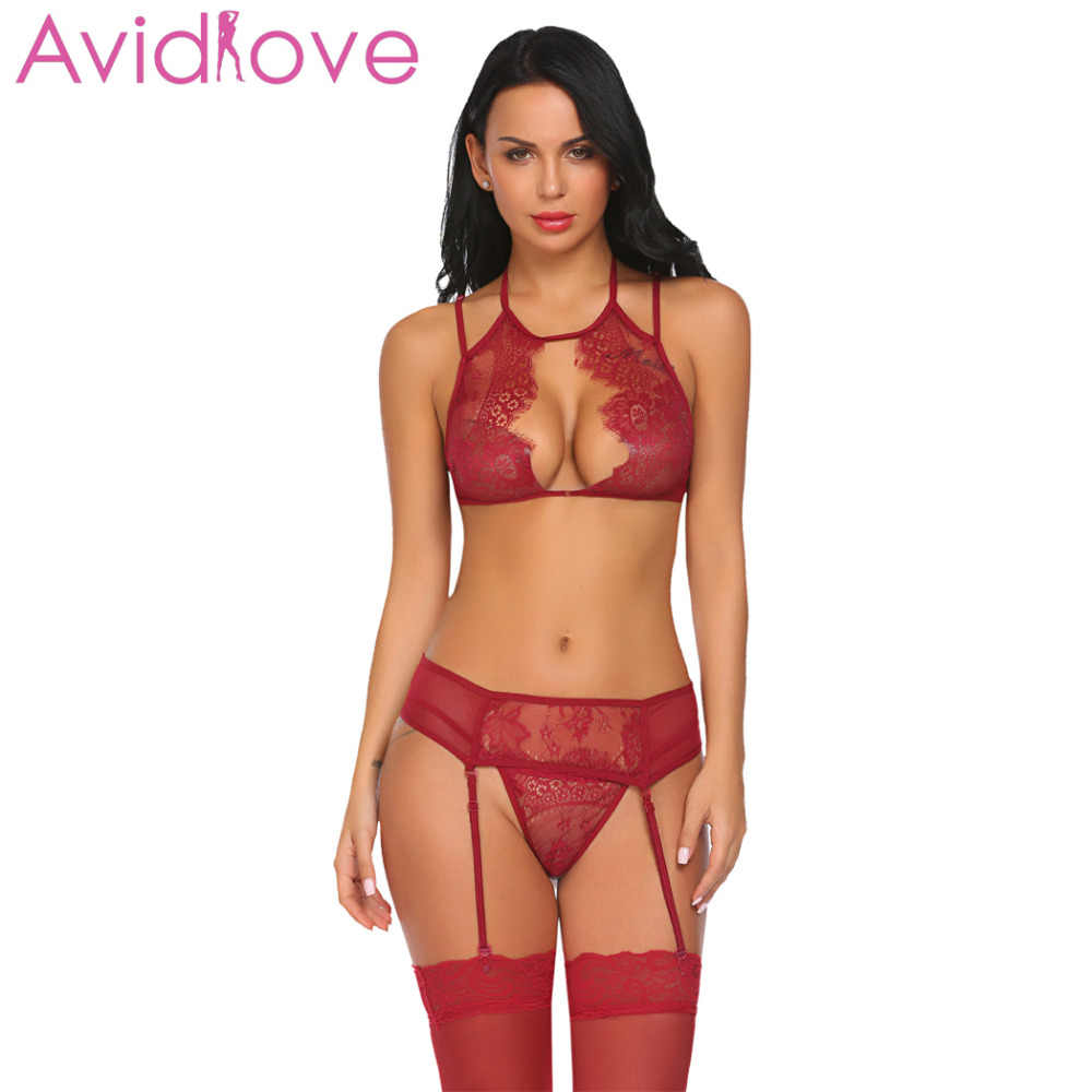 c85f9c6d1a5 ... Avidlove Sexy Erotic Underwear Sex Lingerie Set Women Lace Bralette Bra  with G-string And ...