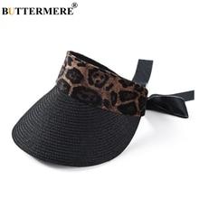 BUTTERMERE Visor Sun Hats Women Leopard Black Boater Hat Female Fashion Bow Holiday Beach Long Brim Adjustable Ladies Summer Hat