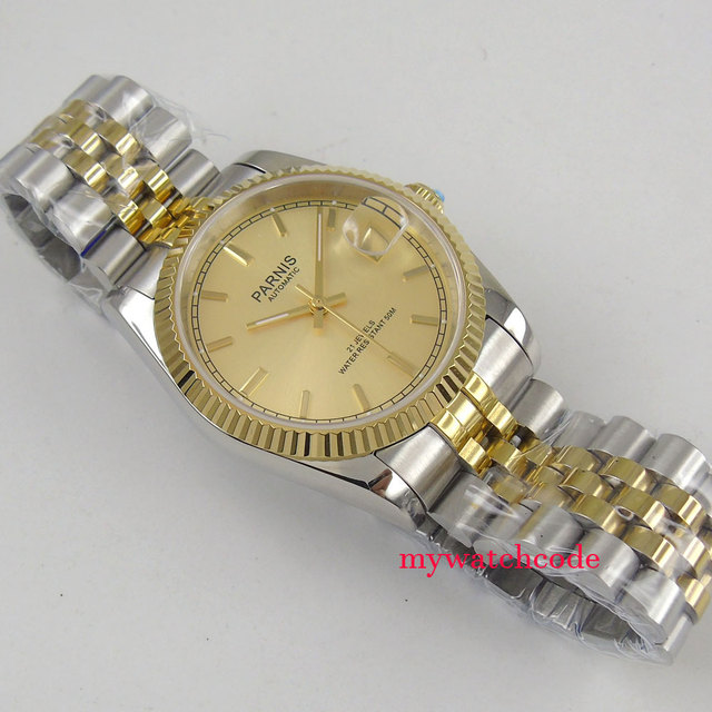 Luxury 36mm Parnis Yellow Gold Dial  Jubilee Bracelet Date Miyota 821A Automatic Mens Watch