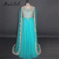 2017 Turquoise Xanh Tại Dubai Dài Áo Choàng Buổi Tối Dresses Moslim Avondjurk Elegant Arabic Thổ Nhĩ Kỳ Evening Gowns Ren Vàng Phục Chính Thức