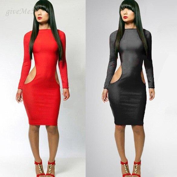 7afe00a31fe86 موضة جديدة 2014 مثير النساء اللباس الربيع زائد حجم ضمادة أسود أحمر bodycon  كم طويل طول الركبة حزب فساتين