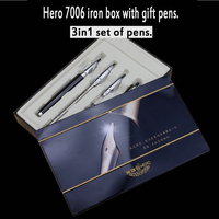 High Quality Metal 3 In 1 Fountain Pen Roller Pen With Gift Box 0 5 1