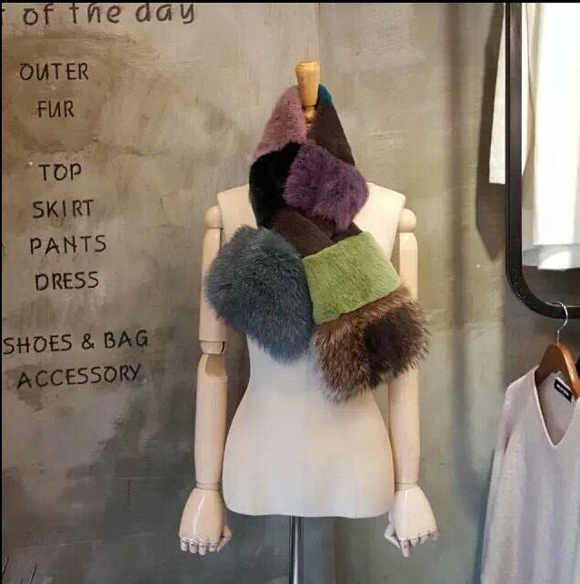 2017 New Korean Rex Rabbit Scarf Winter Thickening real fox fur scarf Natural Fur Collar Female