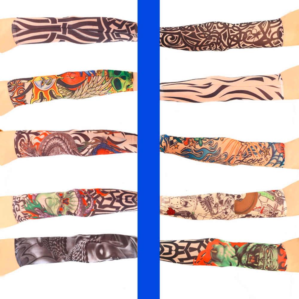 1pc Fake Tattoo Elastic Arm Sleeve Arm Stockings Sport Skins Sun Protective Waterproof Unisex Shoulder Tattoo Sleeve drop shipp
