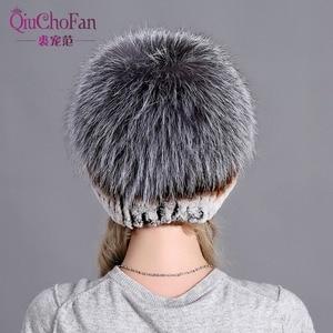 Image 4 - Womens Fur Hat Russian Knit Cap Hat Female Winter Rabbit And Fox Hat Real Fur Hat Caps Winter Women Ski Cap Protection Ear