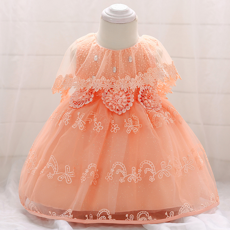 1130c13e98b7 Baby Girls Dress Pearl Infant Party Dresses Vintage Newborn Baptism ...