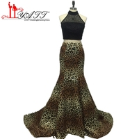 New 2017 Sexy Leopard Print Prom Dresses 2 Piece Party Dress High Neck Beading Sweep Trian