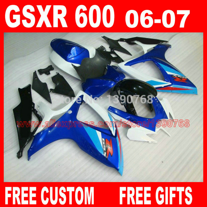 Motorcycle parts for SUZ UKI fairings GSXR600 GSXR 750 06 07 blue white black ABS fairing kit 2006 2007 gsxr600 gsxr750 K6 BH99 aftermarket free shipping motorcycle parts eliminator tidy tail for 2006 2007 2008 fz6 fazer 2007 2008b lack