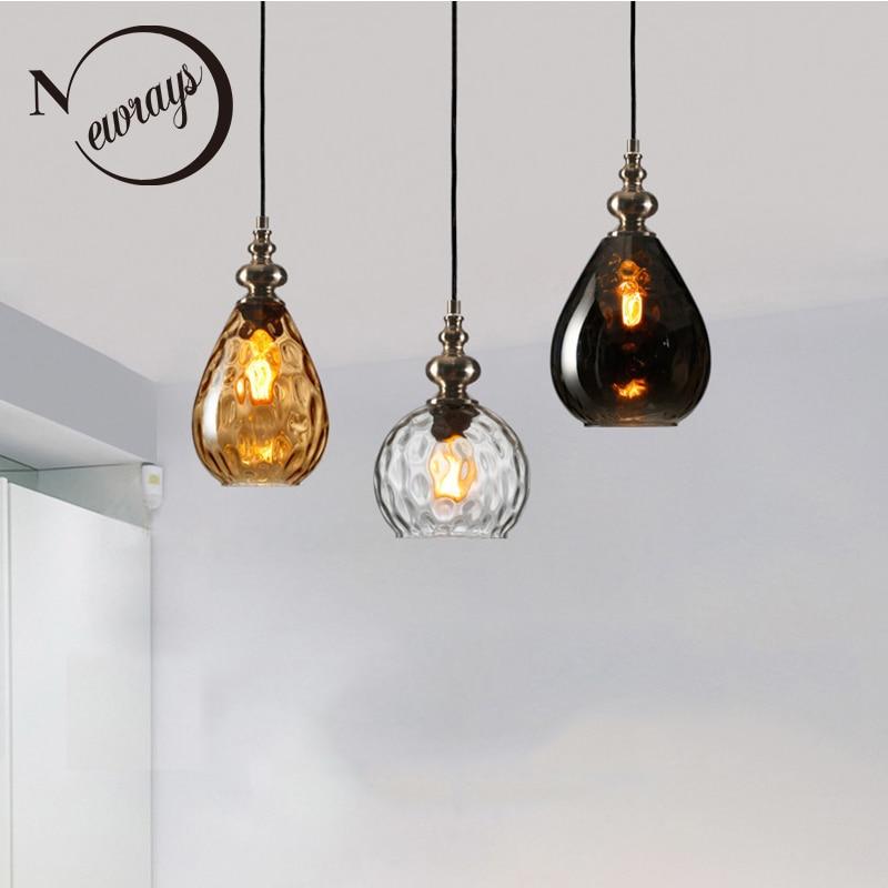 Nordic loft art deco glass pendant light LED E27 vintage modern hanging lamp for bedroom restaurant living room kitchen hotel-in Pendant Lights from Lights & Lighting