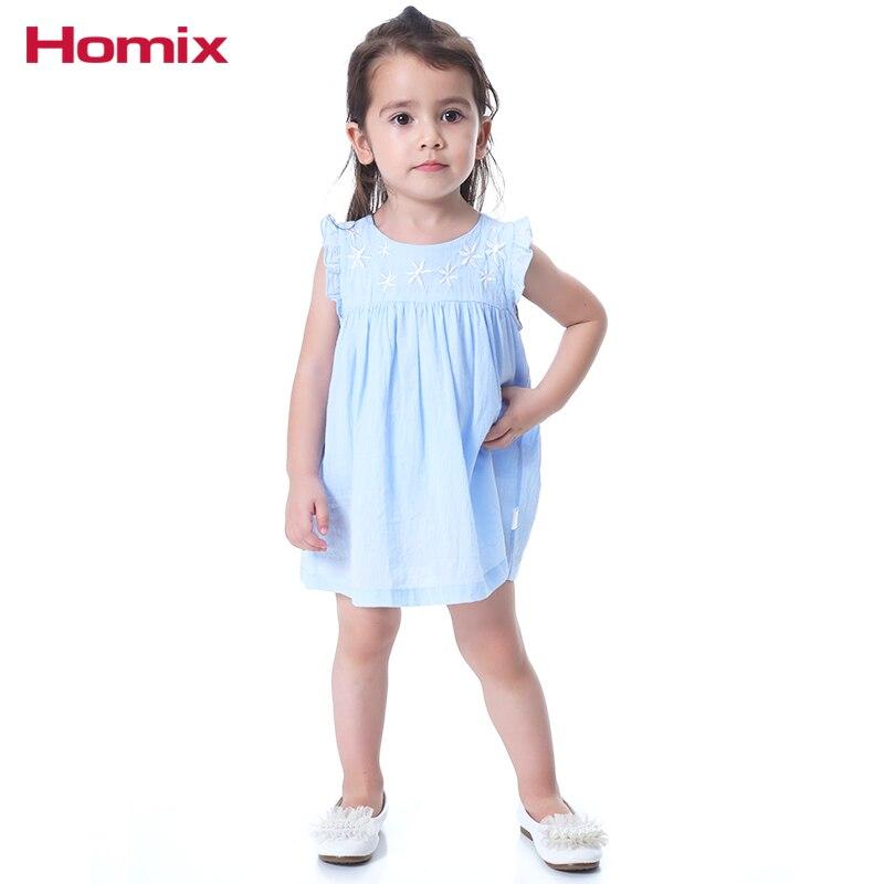 Homix Baby Girl Clothes 100% bawełna Summer Frill Sleeve Haftowane - Odzież dla niemowląt - Zdjęcie 2