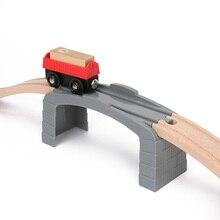 Di plastica Grigio Dritto Pista Tunnel di Legno Pista del Treno Accessori Pista del Treno Slot di Legno Giocattoli Ferrovia bloques de construccion
