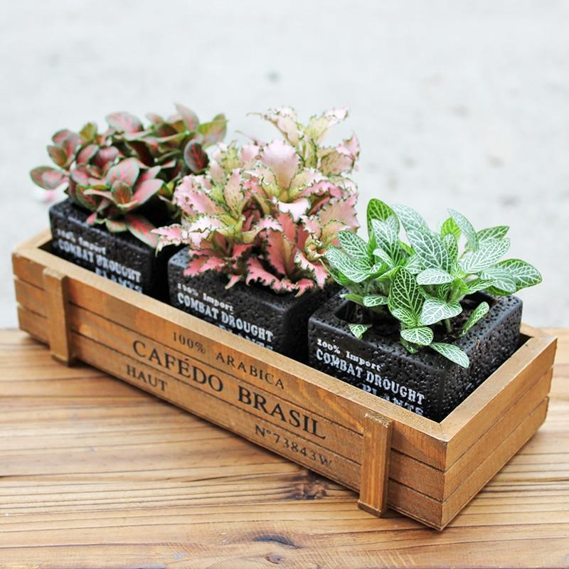 Set of 3 Black Cement Flowerpots Cube Succulent Plant Pots Mini Bonsai Planter with 1 Brown Wooden Box (3 Pots + 1 Box)