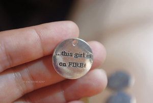 """Image 1 - 50pcs 25mm Metal/Alloy Antique Silver Color Lettering """"This is a girl on fire """" hang tag Charms Pendant Jewelry settings Finding"""