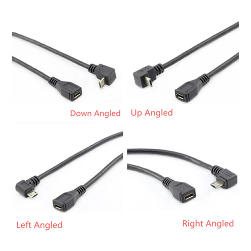 Micro USB 2.0 5Pin Male To Female To Extension Connector Adapter Long Plug Connector 90 Degree Right & Left & Up & Down Angled