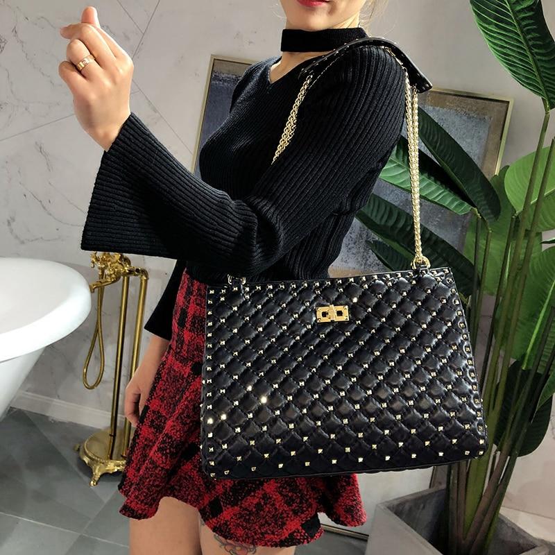 Bestbaoli High Capacity ladies Genuine leather Shoulder bag Fashion chain luxury handbags women bags designer Rivet totes Bolsas