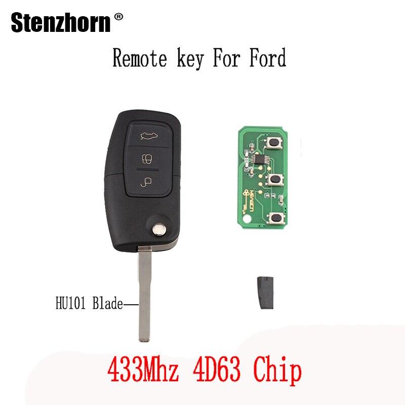 Stenzhorn 3 Tasten 433 Mhz funkschlüssel DIY Für Ford Focus Fiesta C Max S Max Galaxy 2013 4D63 Chip Ursprünglichen tasten HU101 Klinge