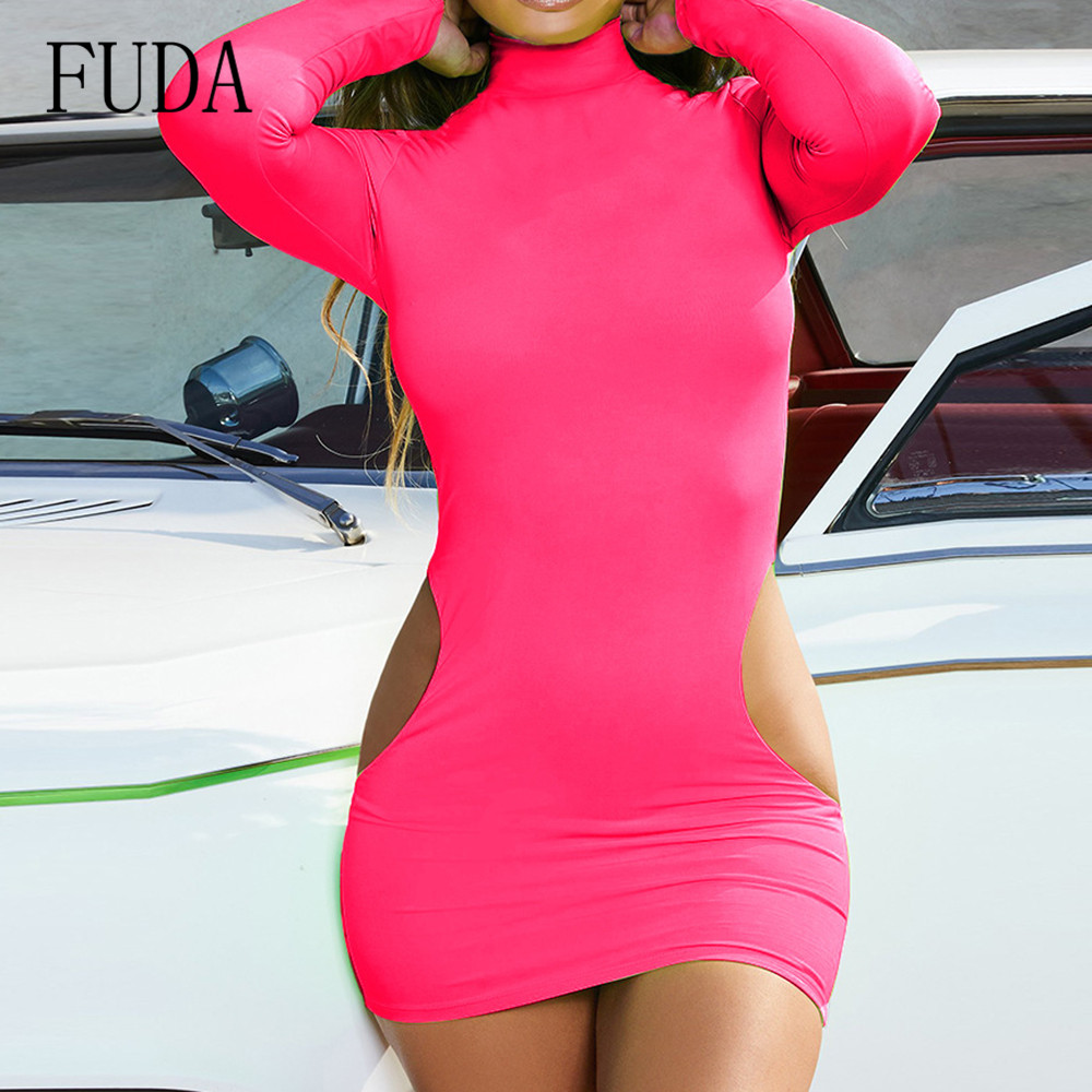 FUDA Long Sleeve Bodycon Mini Dress Women High Neck Hollow Out High Quality Dress Femme Elegant Vestidos De Verano Club Wear in Dresses from Women 39 s Clothing