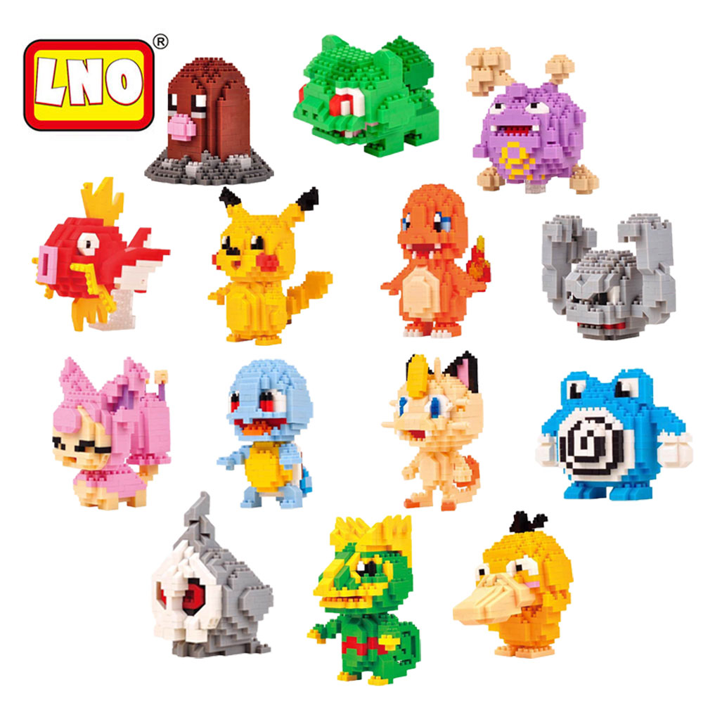 New Arrival LNO 14 Styles Anime Pikachu Figures Blocks Model Toys Pikachu Toys Charmander Micro Diamond Building Bricks For Kids loz diamond blocks figuras classic anime figures toys captain football player blocks i block fun toys ideas nano bricks 9548