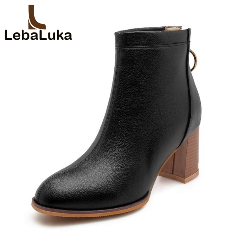 LebaLuka Plus Size 32-46 Women High Heels Ankle Boots Winter Zipper Warm Fur Shoes Woman Round Toe Office Ladies Short Boots enmayer shoes woman supper high heels ankle boots for women winter boots plus size 35 46 zippers motorcycle boots round toe