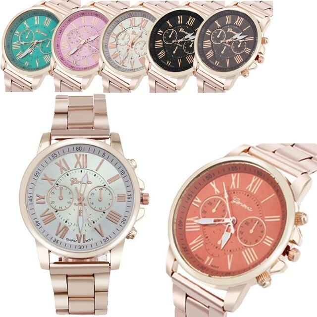 erkek kol saati Colorful Womens Mens Stylish watch Roman numerals Stainless Steel Big Dial Watch Quartz Sports Watch 5