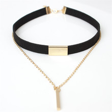Fashion Black Faux Leather Choker Necklaces Women Punk Gold Silver Chain Velvet Necklace Girls Party Jewelry Gift Trinket Collar artificial leather velvet cucurbit choker necklace