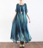 Original 2017 Summer Women Long Sleeve Print Dress Femme Silk Floral Bohemian Lady Loose Beach Breath Long 2 Pieces sets Dresses