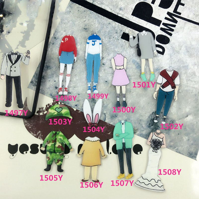 12 Pieces/Lot Women Men Acrylic Brooches For Clothing Lover Accessories Headless Cartoon Lable Pins Shoes Clothes Badges Jewelry