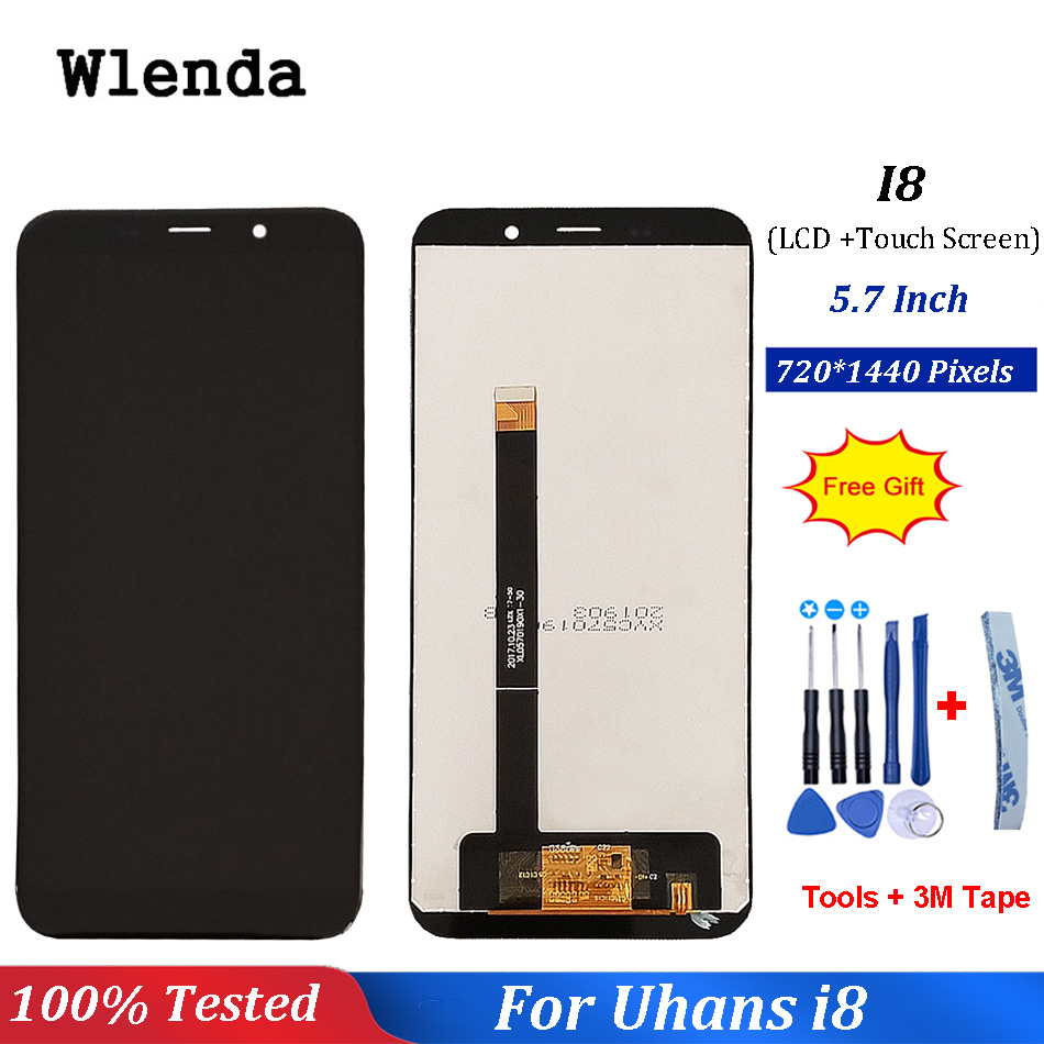 Black For Uhans i8 LCD Display+ Touch Screen Digitizer Assembly Repair Parts For Uhans i8 Accessory+Tools+3M TapeBlack For Uhans i8 LCD Display+ Touch Screen Digitizer Assembly Repair Parts For Uhans i8 Accessory+Tools+3M Tape