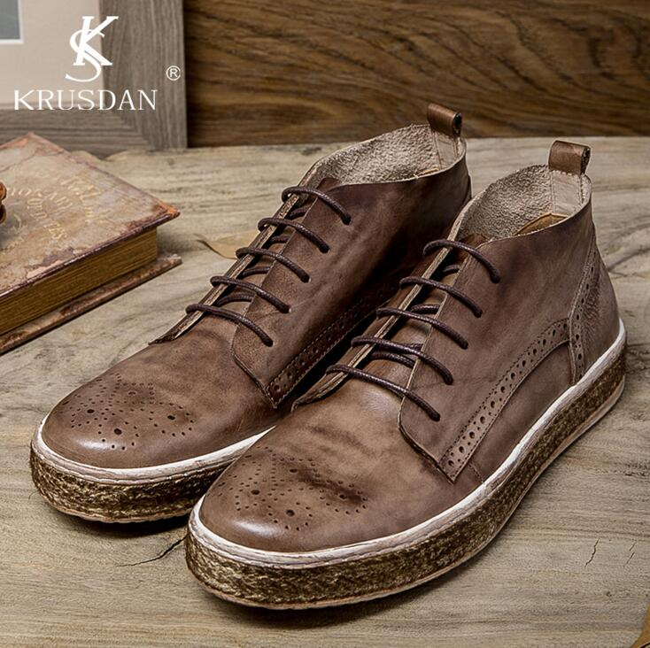 2017 New [krusdan]2017 Men Flats British Retro Stytle Genuine Leather Shoes Oxford High Quality Bullock Straw Bottom Casual