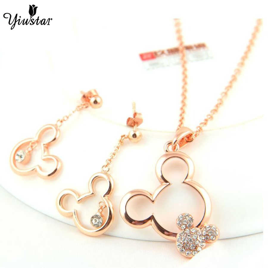 yiustar Mickey Women Mouse Necklace Mickey Pendant Choker Long Necklaces Hollow Necklaces collier femme 2018 collares