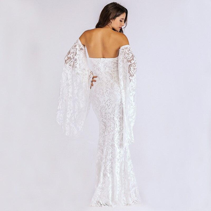autumn white lace dress party long fashion woman clothes elegant robe femme ete strapless backless vestidos mesh crochet jurken
