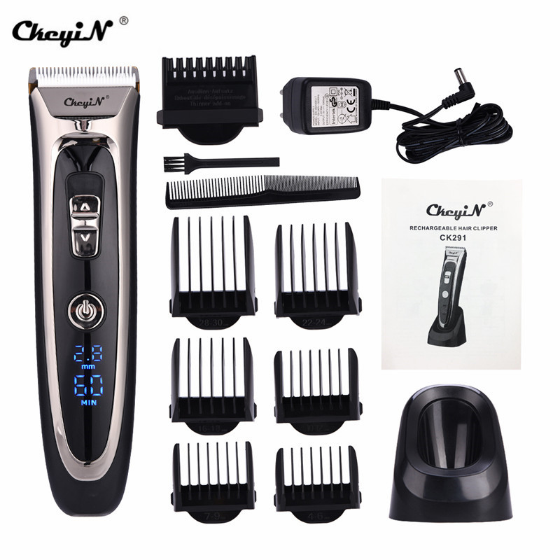 Мужская электрическая машинка для волос, профессиональный беспроводной цифровой перезаряжаемый триммер, регулируемое керамическое лезви...