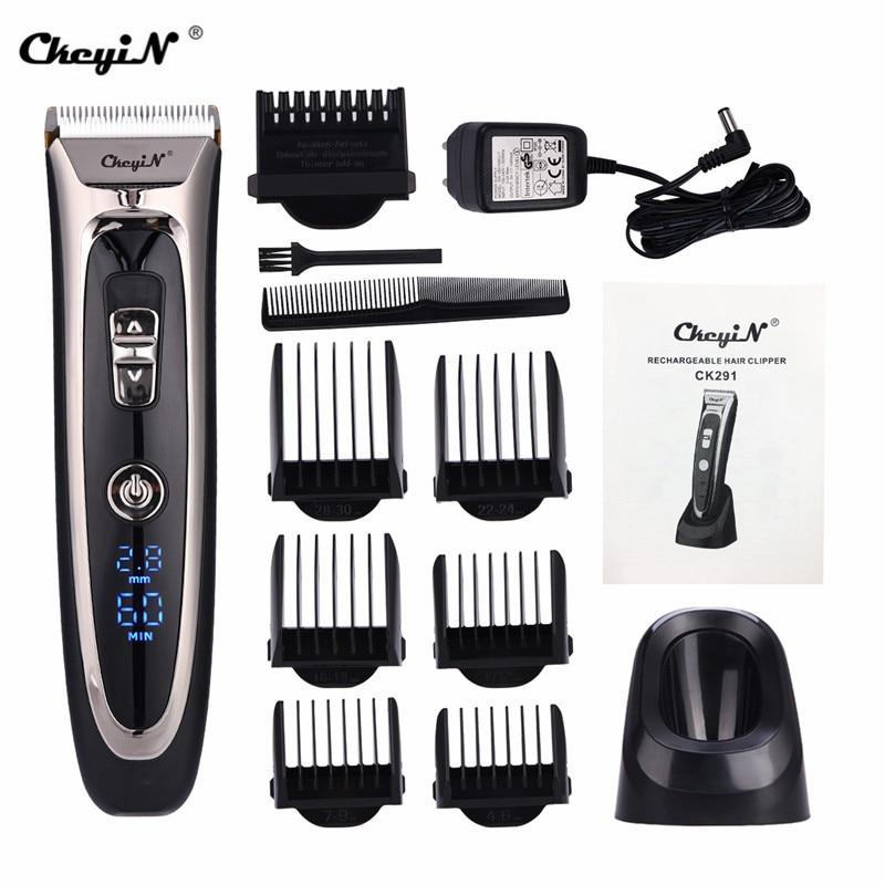 Professionnel numérique tondeuse à cheveux Rechargeable électrique tondeuse à cheveux hommes sans fil coupe de cheveux réglable en céramique lame RFC-688B 49