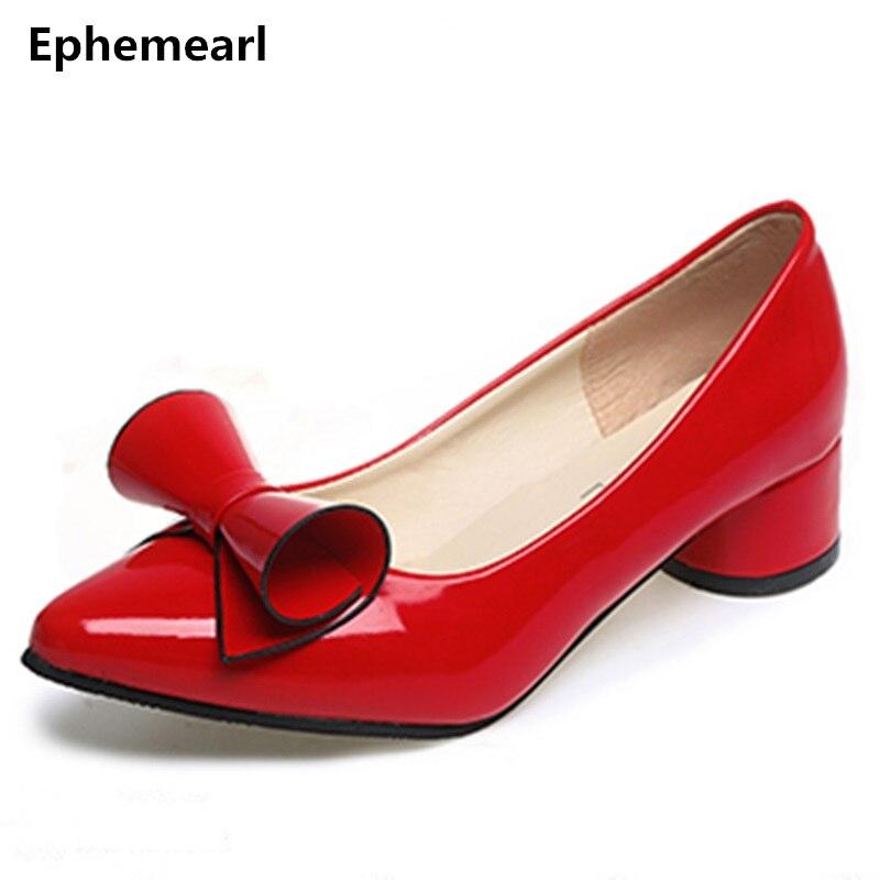 Gut Ausgebildete Dame Süße Plus Größe 34-43 Platz Ferse Niedrigen Spitze Zehen Partei Dating Schuhe Frauen Pumpen Stiletto Zapatos Mujer Patent Leder Rot Frauen Schuhe Damenpumps